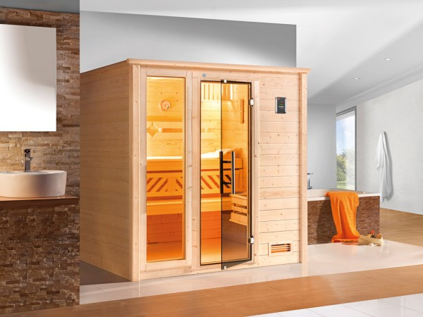 Sauna Massivholzsauna Bergen 2 GTF graphit Ganzglastür und Fensterelement