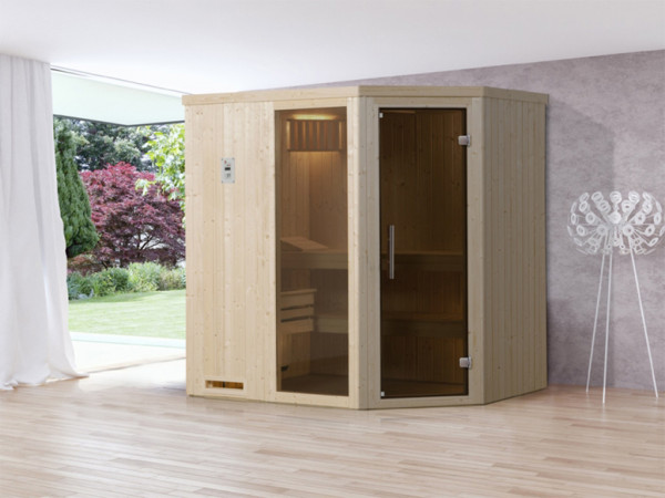 Sauna Elementsauna Varberg 1 GTF graphit Ganzglastür und Fensterelement