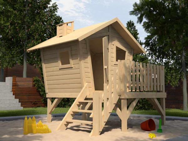 Kinderspielhaus Lotti mit Treppe und Terrasse, fichte natur