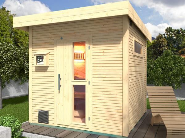 Premium Saunahaus KUOPIO wekaLine, 45 mm naturbelassen, inkl. Fenster + Boden, Flachdach
