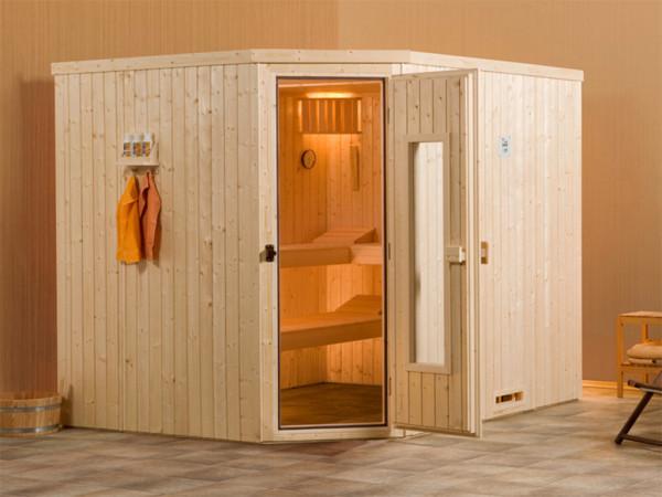 Sauna Elementsauna Varberg 3 HT isolierte Holztür mit Glasausschnitt