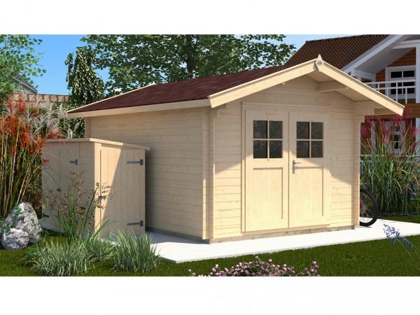 Gartenhaus Premium28 Gr. 3 28 mm natubelassen mit 60 cm Vordach