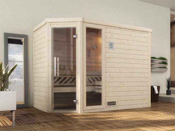 Sauna Massivholzsauna Turku 3 GTF graphit Ganzglastür + 1 Fensterelement