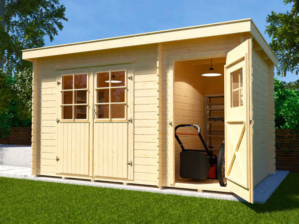 Gartenhaus Blockbohlenhaus 254 Gr. 1 28 mm naturbelassen