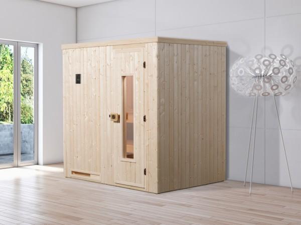 Sauna Elementsauna Halmstad 1 HT isolierte Holztür mit Glasausschnitt