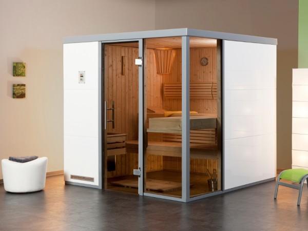 """Sauna Designsauna I """"Bianco R"""" graphit Ganzglastür + 2 Fensterelemente"""