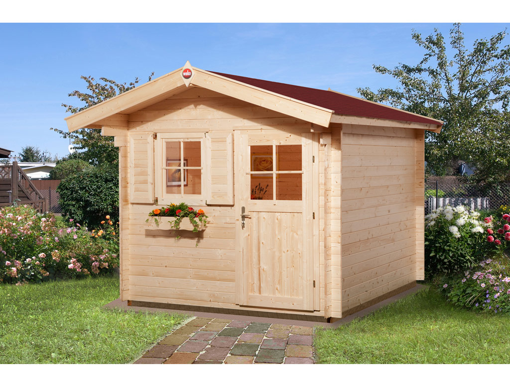 Gartenhaus Premium28 Gr 1 28 Mm Natubelassen Mit 60 Cm Vordach Blockbohlenhauser Gartenhauser Garten Weka Shop24