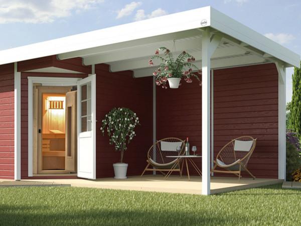 Saunahaus Salo 2 28 mm schwedenrot/weiß mit Lounge 300 cm, ohne Ofen