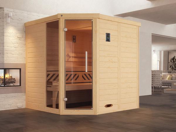 Sauna Massivholz-Elementsauna Kemi Eck 1 inkl. Fenster, Edelstahlset + Komfortpaket