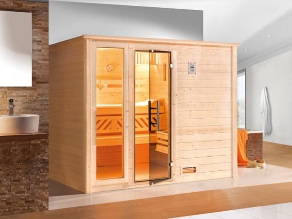 """Sauna Massivholzsauna """"Bergen 3 GTF"""" graphit Ganzglastür + 1 Fensterelement"""