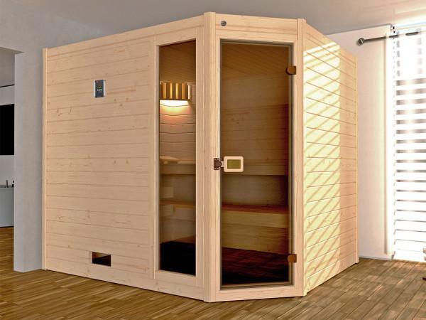 WE-Sauna Massiv.Valida Eck 3 GTF,ohne Ofen,2 PACK