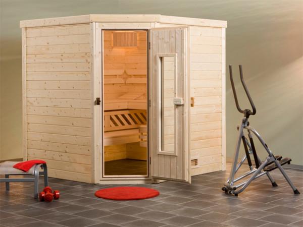 Sauna Massivholzsauna Turku 2 HT isolierte Holztür mit Glasausschnitt