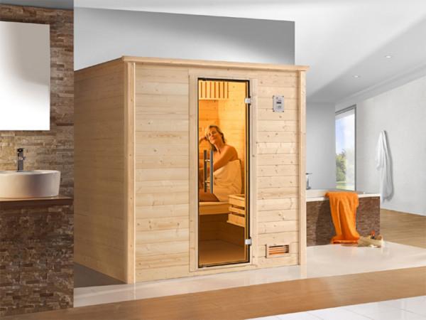 Sauna Massivholzsauna Bergen 1 GT graphit Ganzglastür