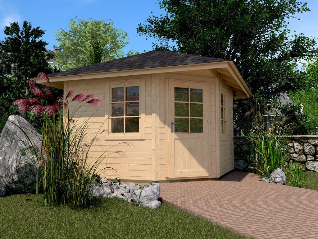 gartenhaus 149 gr 2 28 mm naturbelassen spitzdach. Black Bedroom Furniture Sets. Home Design Ideas