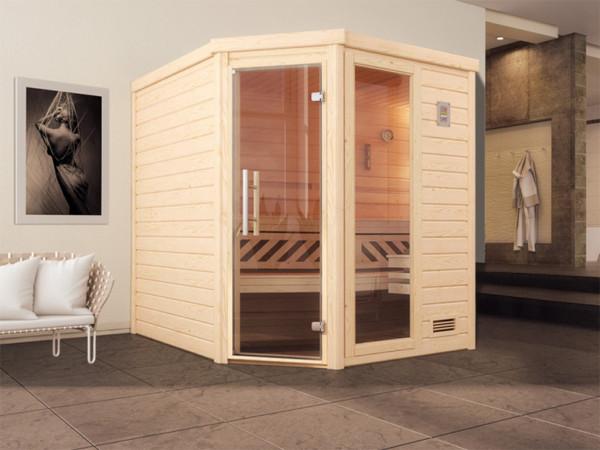 Sauna Massivholzsauna Turku 2 GTF graphit Ganzglastür und Fensterelement