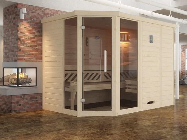 Design-Sauna KEMI Eck 2 GT, ohne Ofen