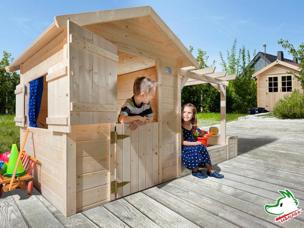 Spielhaus Tabaluga Spielplatz naturbelassen inkl. Sandkasten