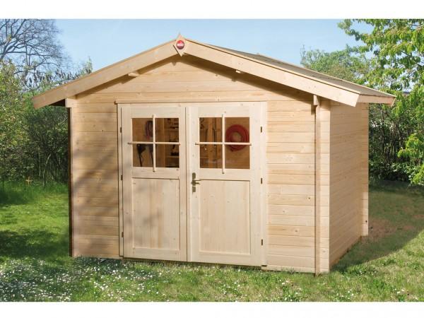Gartenhaus Premium28 Gr. 2 28 mm natubelassen mit 20 cm Vordach