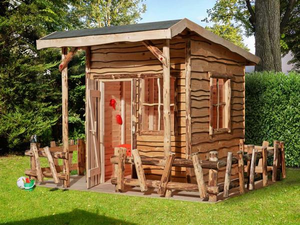 Spielhaus Abenteuerhaus 820 A naturbelassen inkl. Veranda + Terrasse