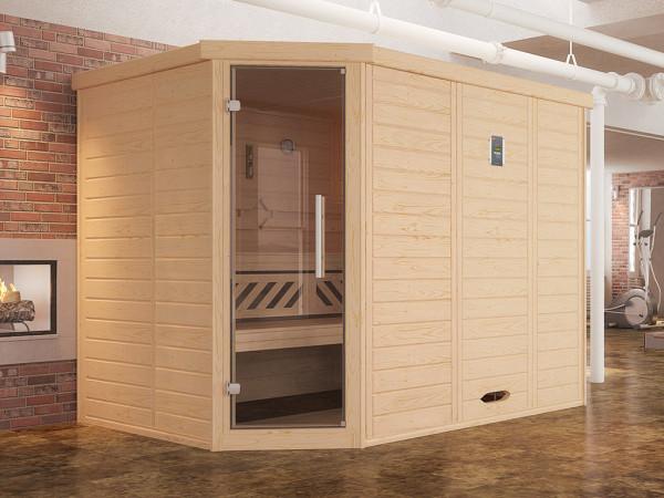 Sauna Massivholz-Elementsauna Kemi Eck 2 inkl. Edelstahlset + Komfortpaket