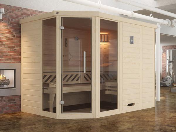 Sauna Massivholz-Elementsauna Kemi Eck 2 inkl. Fenster, Edelstahlset + Komfortpaket