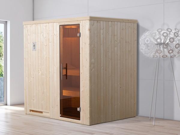 Sauna Elementsauna Halmstad 1 GT graphit Ganzglastür