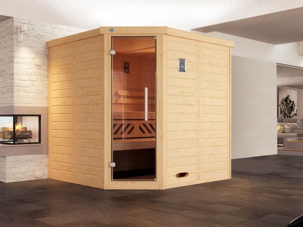 Sauna Massivholz-Elementsauna Kemi Eck 1 inkl. Edelstahlset + Komfortpaket