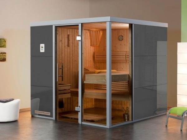 """Sauna Designsauna I """"Grigio R"""" graphit Ganzglastür + 2 Fensterelemente"""