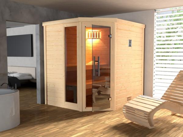Sauna Massivholzsauna SPARSET 2 Turku 1 GTF inkl. 7,5kW Bio-Ofen mit ext. Steuerung & Anschlusskabel