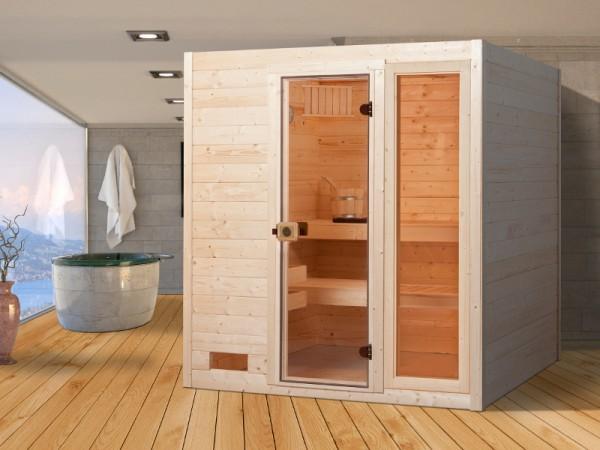 Sauna Massivholzsauna Valida 3 GTF klare Ganzglastür und Fensterelement