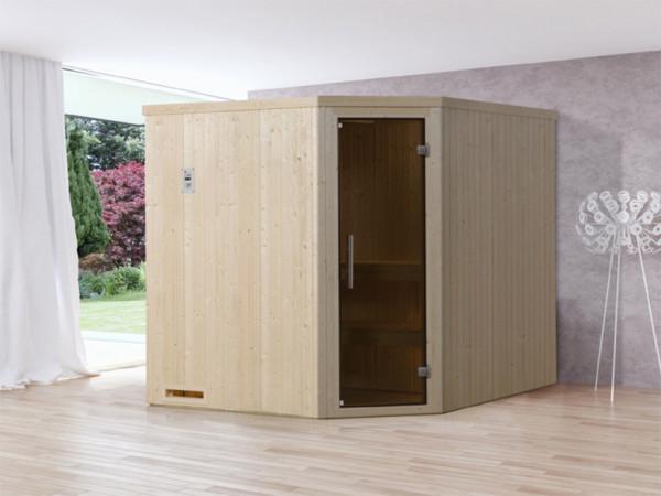 Sauna Elementsauna Varberg 3 GT graphit Ganzglastür