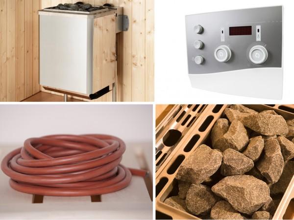 Technikpaket für Saunahaus Serie 533, 9,0 KW Ofen mit Anschlußkabel und Steuergerät