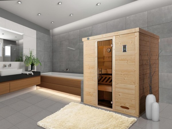 Sauna Massivholz-Elementsauna Kemi 4 GT graphit Ganzglastür