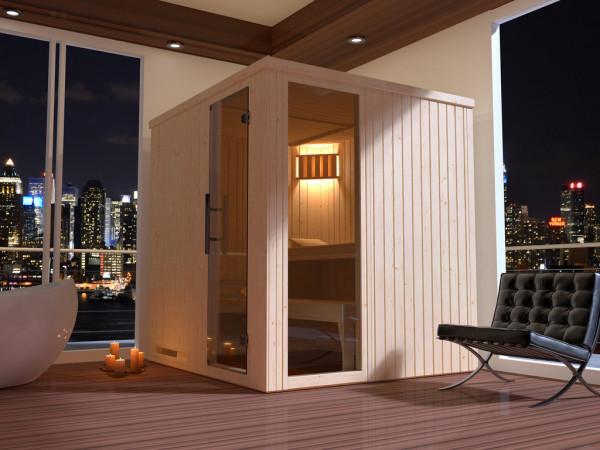 Sauna Elementsauna Halmstad 2 GTF graphit Ganzglastür und Fensterelement