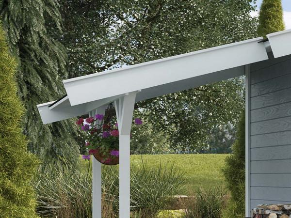 Gartenhaus Schleppdach für Satteldachhäuser 19 + 21 mm weiß