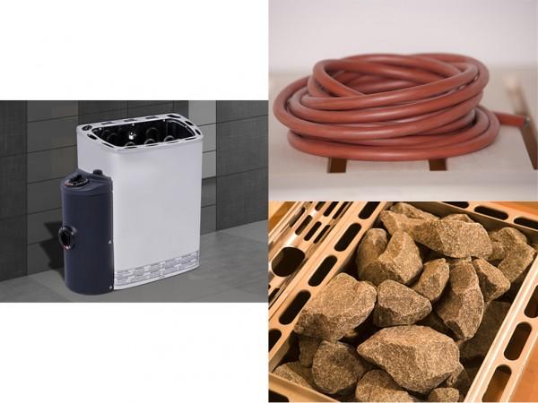 Saunaofen Set 7 mit 3,6 kW Ofen Kompakt inkl. integrierter Steuerung