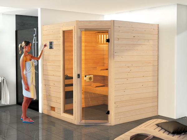 Sauna Massivholzsauna Valida 1.8 Eck mit Klarglastür und Fenster