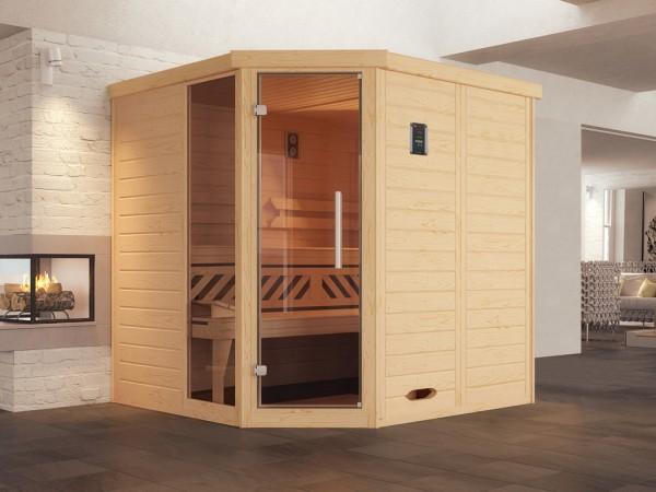 Design-Sauna KEMI Eck 1 GTF, ohne Ofen