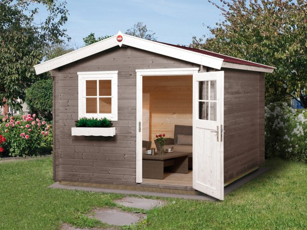 Gartenhaus Premium28 Gr. 3 28 mm natubelassen mit 20 cm Vordach