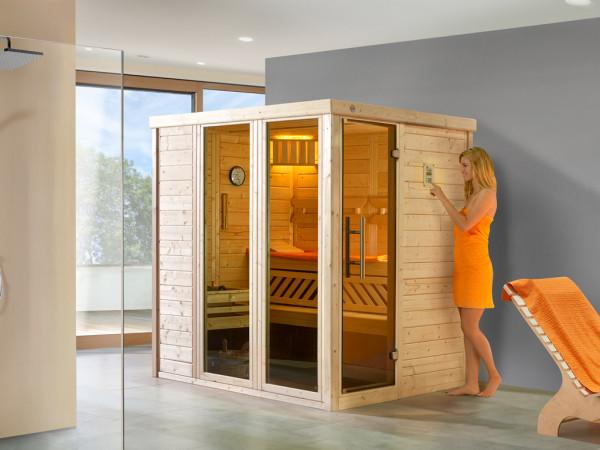 Sauna Massivholz-Elementsauna Kemi Panorama 1 inkl. Saunaofen OS 7,5 kW + externer Steuerung