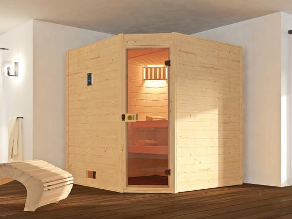 Sauna Massivholzsauna Valida 1.8 Eck mit Klarglastür