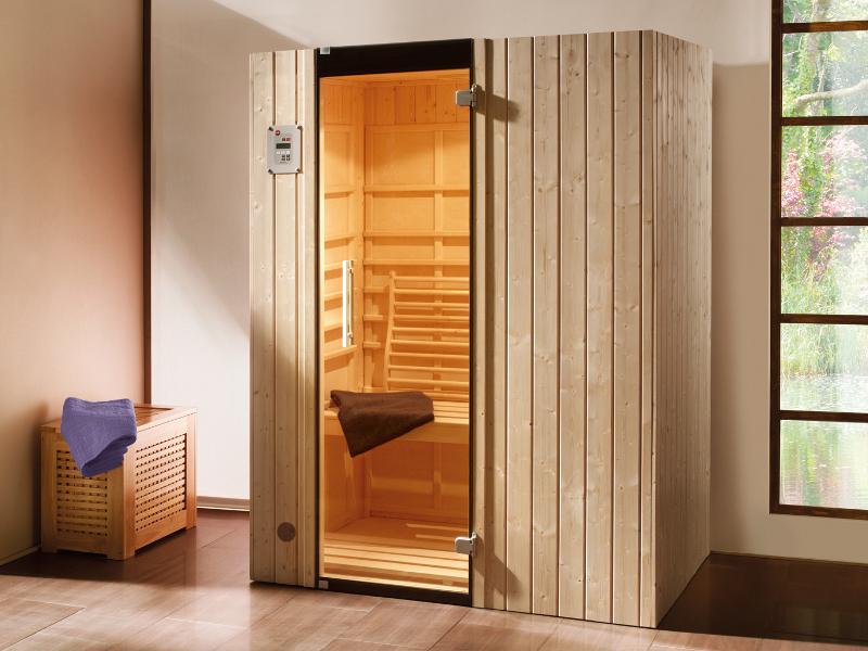 infrarotkabine w rmekabine ranua 2 inkl steuerung halogenspot graphit ganzglast r. Black Bedroom Furniture Sets. Home Design Ideas