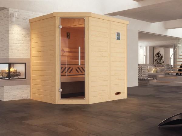 Design-Sauna KEMI Eck GT, ohne Ofen