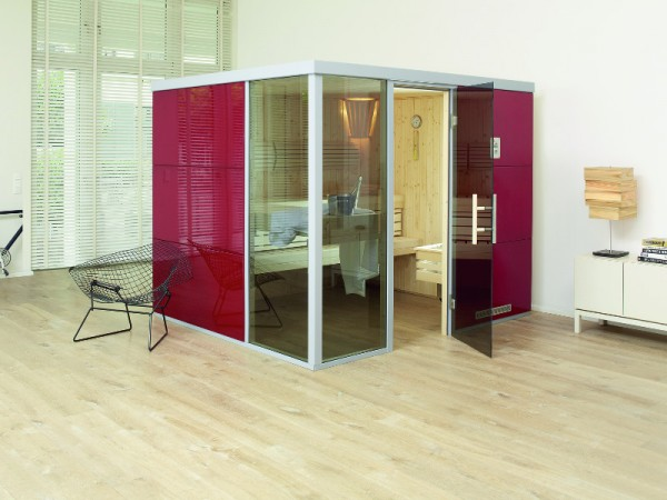 """Sauna Designsauna II """"Rosso L"""" graphit Ganzglastür + 2 Fensterelemente"""
