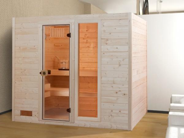 Sauna Massivholzsauna Valida 4 GTF klare Ganzglastür und Fensterelement