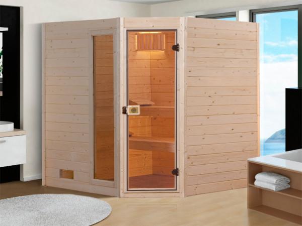 Sauna Massivholzsauna SPARSET 2 Valida Eck 1 GTF inkl. 4,5 kW Bio-Ofen mit ext. Strg. + Leuchtenset