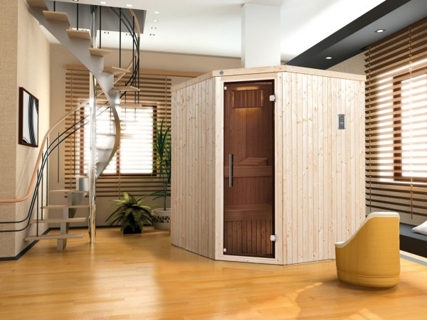 Sauna Elementsauna Kiruna 2 GT inkl. 4,5 KW Bio-Ofen mit ext. Steuerung, graphit Ganzglastür