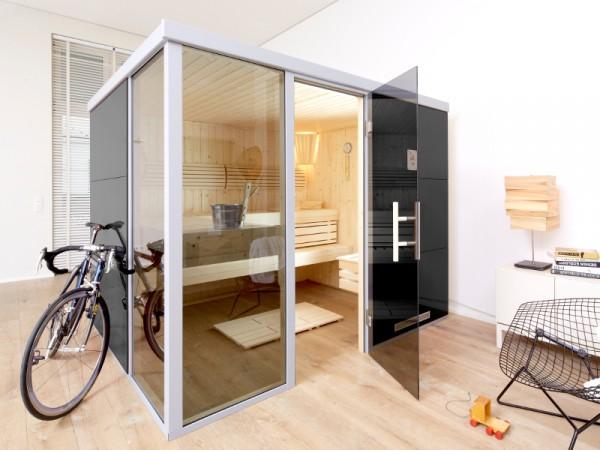 """Sauna Designsauna I """"Grigio L"""" graphit Ganzglastür + 2 Fensterelemente"""