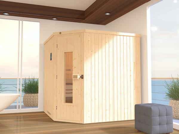 Sauna Systemsauna SPARSET 2 Varberg 3 mit isloierter Holztür inkl. Bio-Ofen