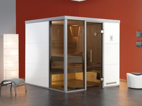 """Sauna Designsauna I """"Bianco L"""" graphit Ganzglastür + 2 Fensterelemente"""